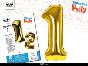 METAL BALLOON NUMERO ORO GOLD 100 CM