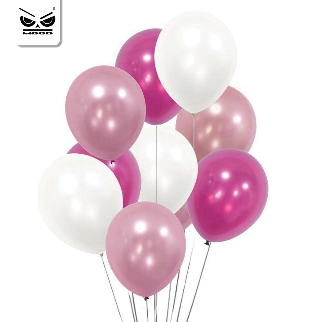 20 PALLONCINI IN LATTICE METALLIZZATI MIX ROSA, FUCSIA, BIANCO