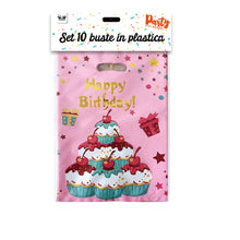 Load image into Gallery viewer, SET 10 BUSTE IN PLASTICA BIRTHDAY CAKE