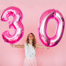 Load image into Gallery viewer, METAL BALLOON NUMERO ROSA PINK 100 CM