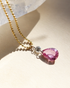 Pink Sapphire Pear Necklace