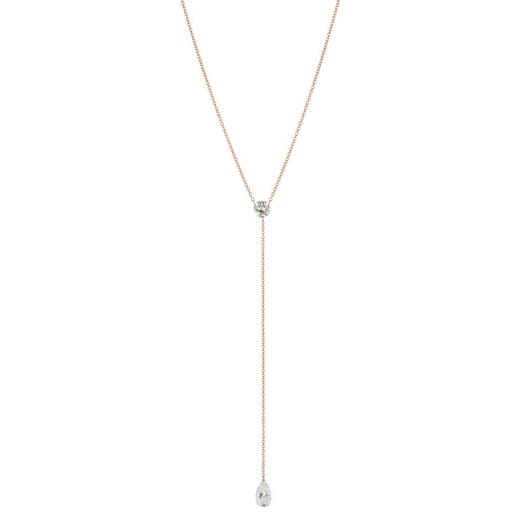 Lariat with Round and Pear Shaped Diamond