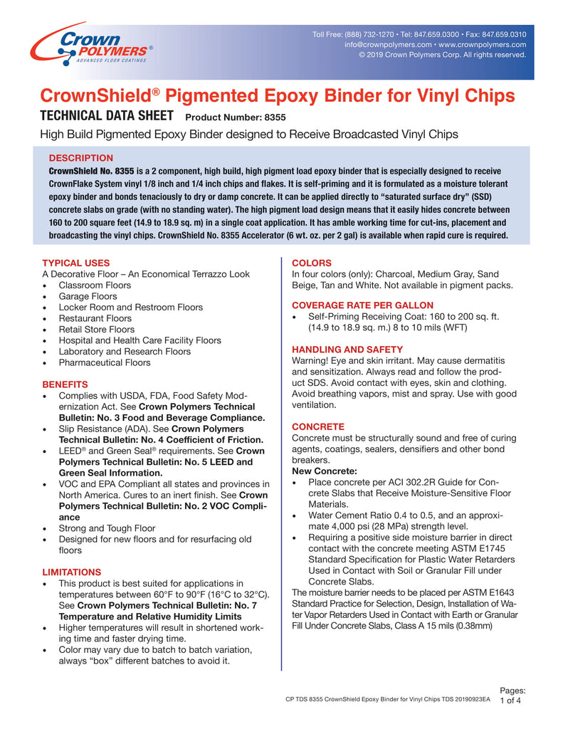 CrownShield® Pigmented Epoxy Binder for Vinyl Chips