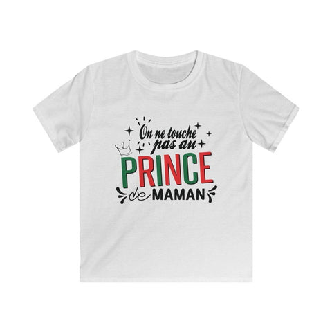 "T-shirt enfant ""On ne touche pas au prince de maman"" - La boutique Franco-Portugaise"