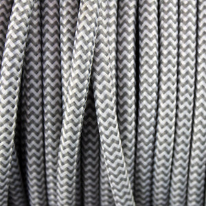 Textile Cable for Lamps - Round -  Grey-White