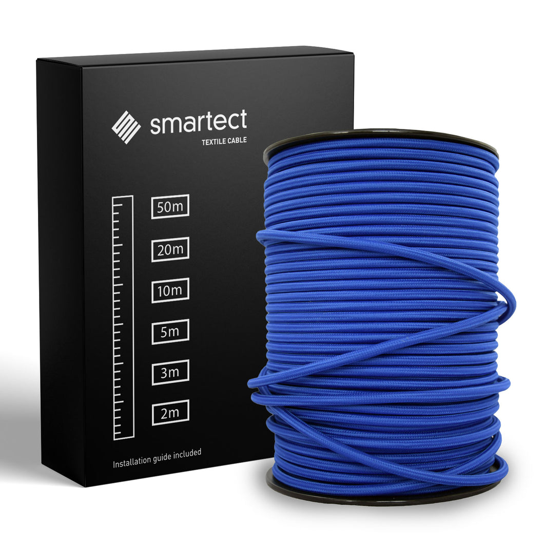 Textile Cable for Lamps - Round - Navy Blue