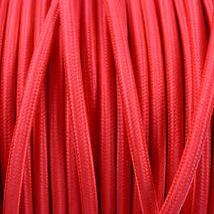 Textile Cable for Lamps - Round - Red