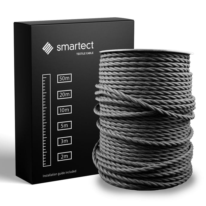Textile Cable for Lamps - Twisted - Black