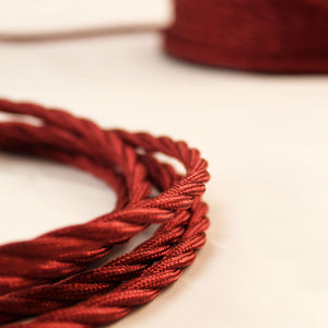 Textile Cable for Lamps - Twisted - Bordeaux