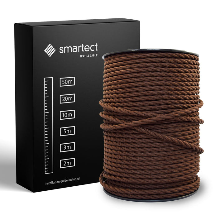 Textile Cable for Lamps - Twisted -  Brown