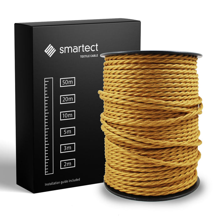 Textile Cable for Lamps - Twisted - Gold