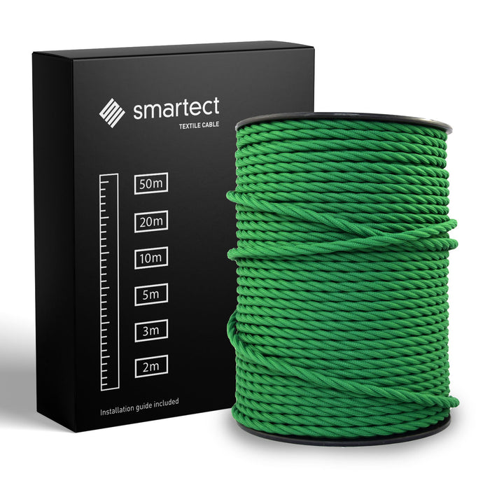 Textile Cable for Lamps - Twisted -  Green