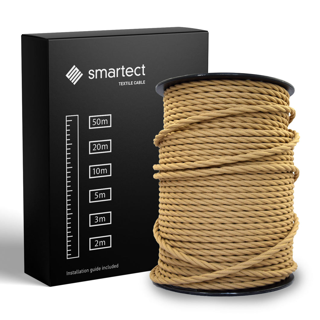 Textile Cable for Lamps - Twisted - Light Brown