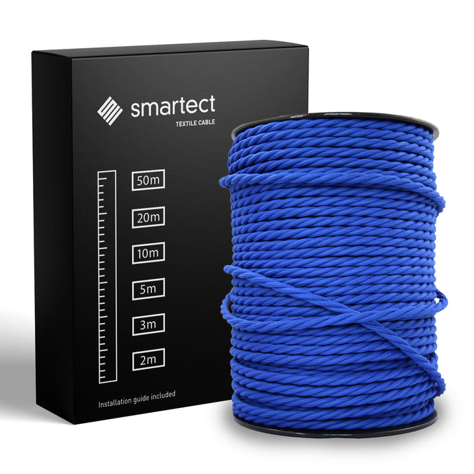 Textile Cable for Lamps - Twisted - Navy Blue