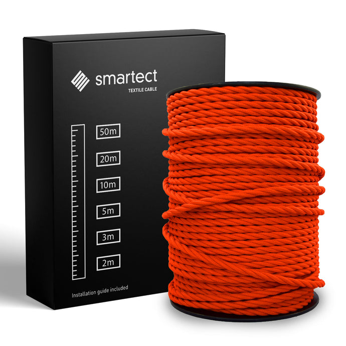 Textile Cable for Lamps - Twisted - Orange