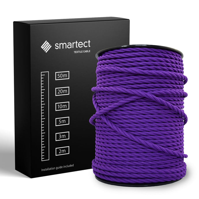 Textile Cable for Lamps - Twisted - Purple