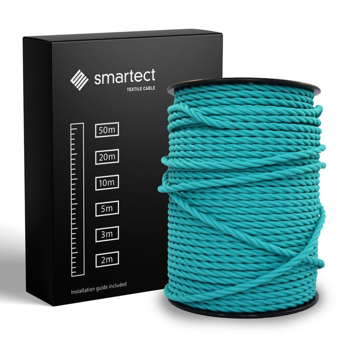 Textile Cable for Lamps - Twisted -  Turquoise