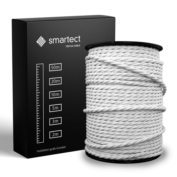 Textile Cable for Lamps - Twisted - White