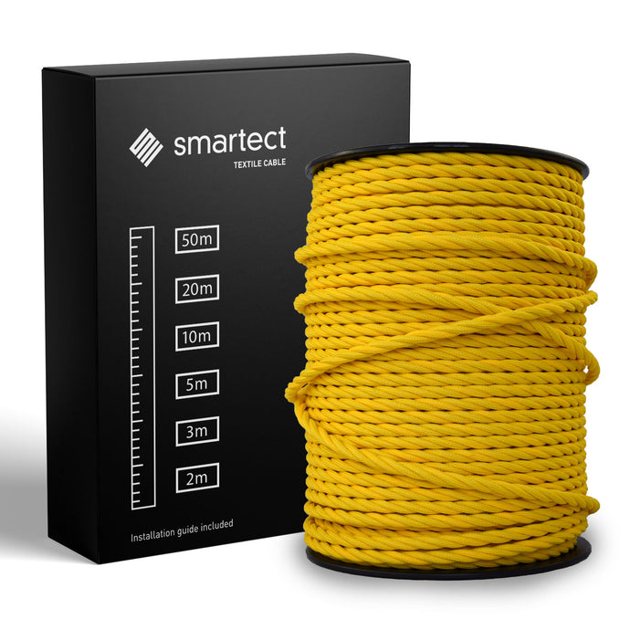 Textile Cable for Lamps - Twisted -  Yellow