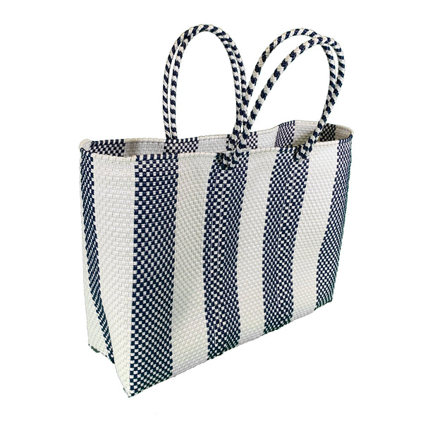 Handwoven Plastic Tote (navy/white stripe, large)