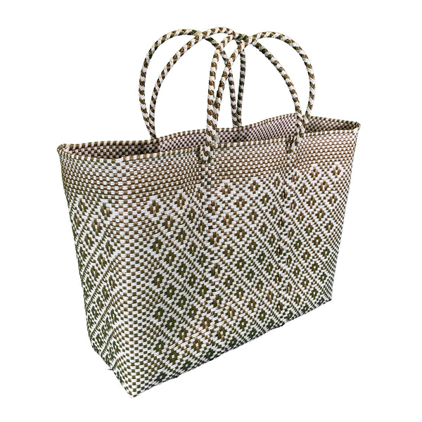 Handwoven Plastic Tote (gold/white, large)