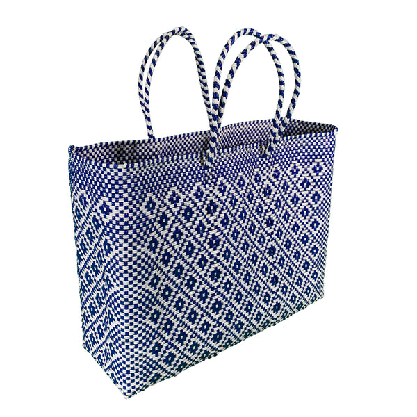 Handwoven Plastic Tote (navy/white, large)