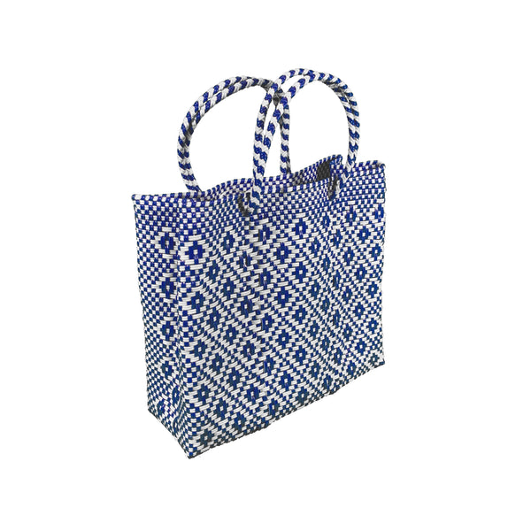 Handwoven Plastic Tote (navy/white, small)
