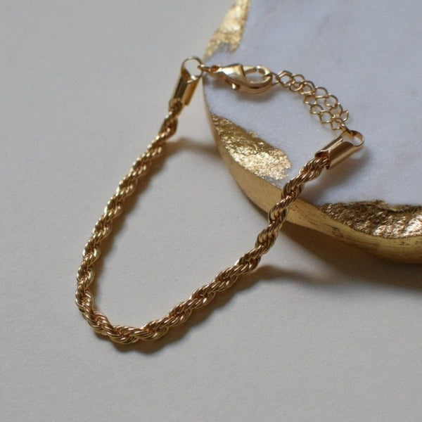 Rope bracelet chain bracelet cuban chain bracelet real gold