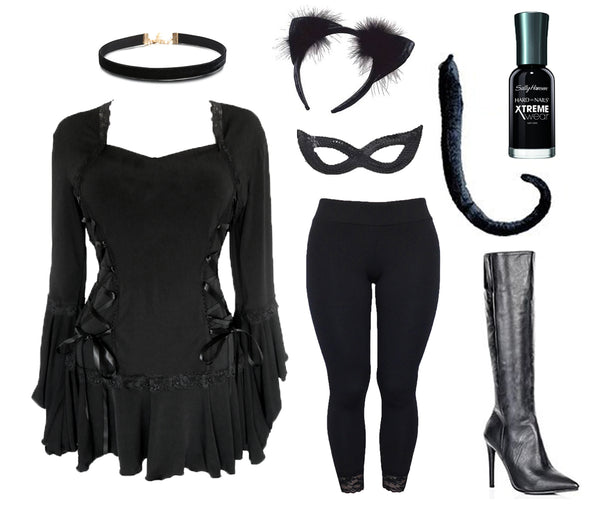 Dare to Wear Black Cat Costume Collage