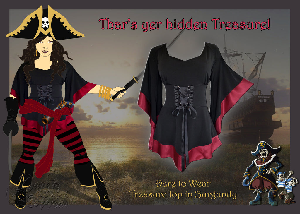 Pirate Costume using Dare to Wear Treasure top in Burgundy