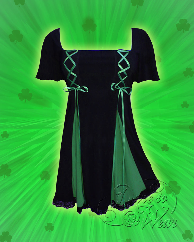 Gemini Princess S/S Top in Black/Emerald