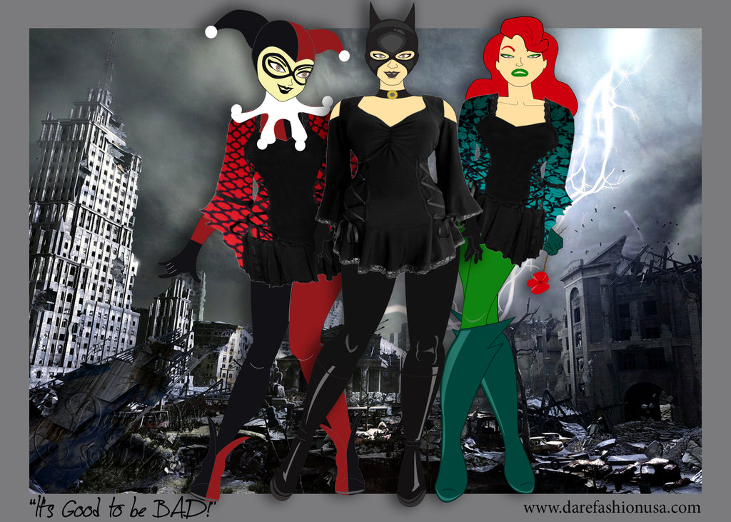 Harley Quinn, Catwoman, Poison Ivy Halloween Costumes