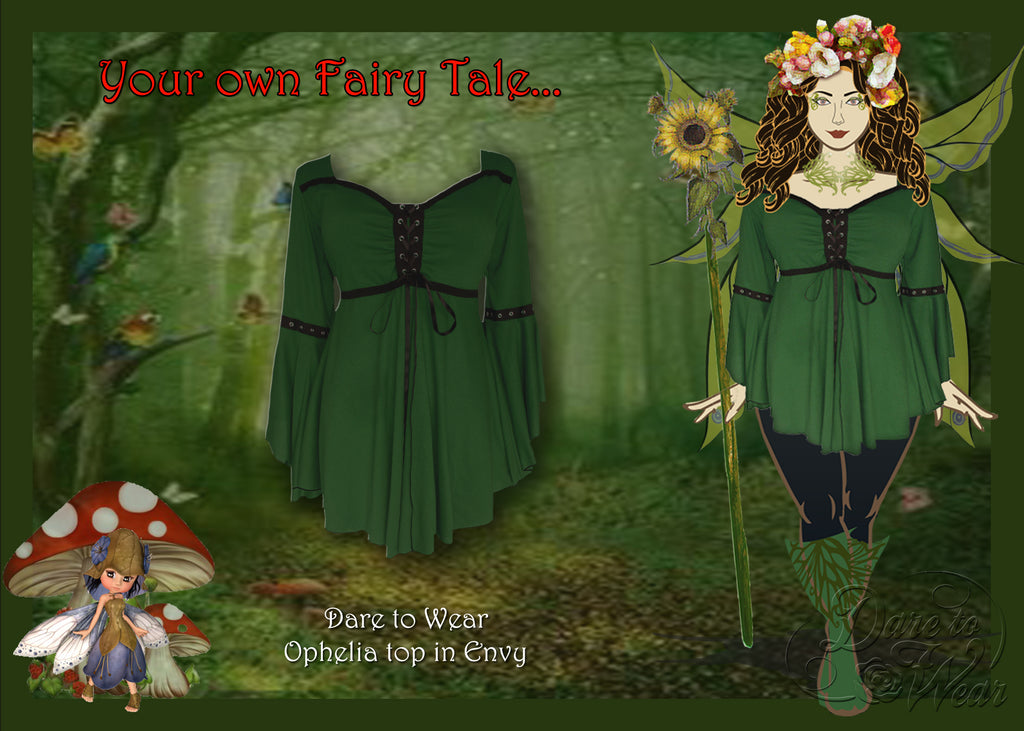 Woodland Fairy Costume using Dare to Wear Ophelia top in Envy