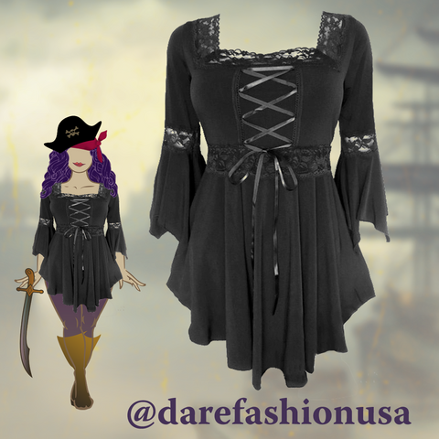 Pirate Costume using Dare to Wear Renaissance Top in Black