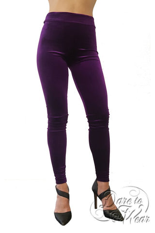 Luxury Leggings in Purple Velvet