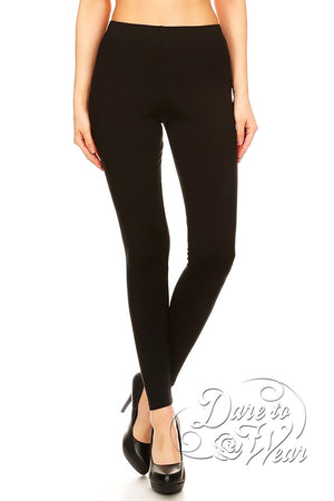Dare to Wear Victorian Gothic Steampunk Peached Leggings in Basic Black