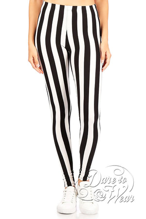 Dare to Wear Victorian Gothic Steampunk Peached Leggings in Beetlejuice