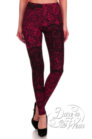 Dare to Wear Victorian Gothic Steampunk Peached Leggings in Bordello