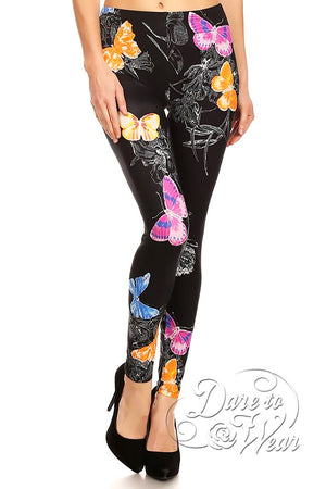 Dare to Wear Victorian Gothic Steampunk Peached Leggings in Butterfly Kisses