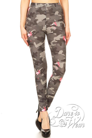 Dare to Wear Victorian Gothic Steampunk Peached Leggings in Camo Flamingo