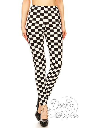 Dare to Wear Victorian Gothic Steampunk Peached Leggings in Checkmate