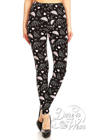 Dare to Wear Victorian Gothic Steampunk Peached Leggings in Eiffel Showers