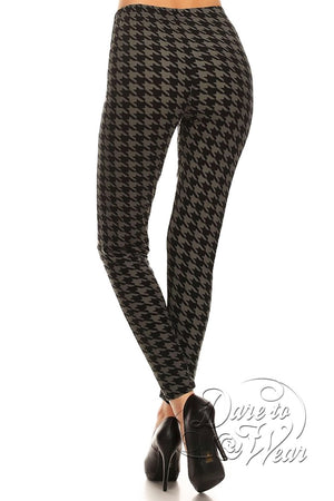 Peached Leggings in Greyhound | Grey Black Jagged Checked Tights Back