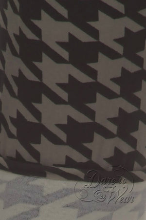 Peached Leggings in Greyhound | Grey Black Jagged Checked Tights Detail