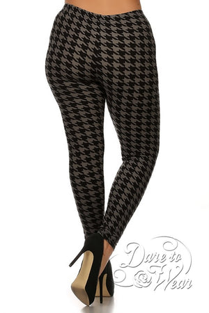 Peached Leggings in Greyhound | Grey Black Jagged Checked Tights Plus-Back