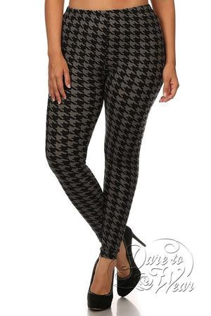 Peached Leggings in Greyhound | Grey Black Jagged Checked Tights Plus-Front