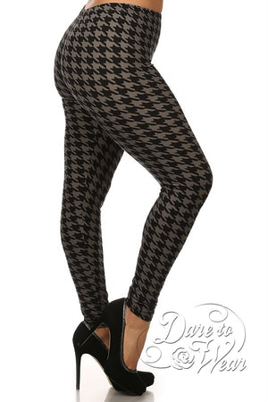 Peached Leggings in Greyhound | Grey Black Jagged Checked Tights Plus-Side