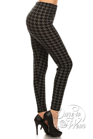 Peached Leggings in Greyhound | Grey Black Jagged Checked Tights Side