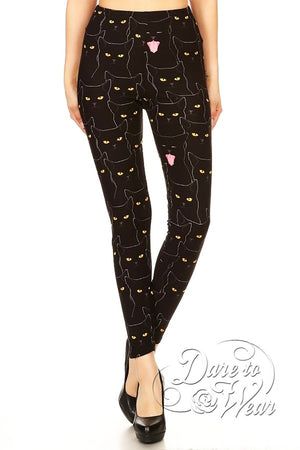 Dare to Wear Victorian Gothic Steampunk Peached Leggings in Hella Kitty