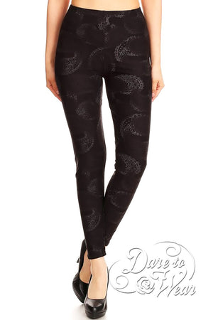 Dare to Wear Victorian Gothic Steampunk Peached Leggings in Luna Lace
